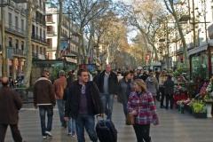 Les ramblas de Barcelone